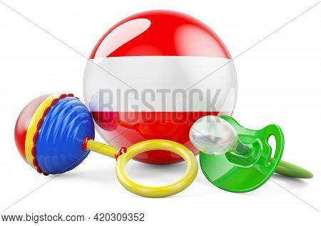 Birth Rate And Parenting In Austria Concept. Baby Pacifier And Baby Rattle With Austrian Flag, 3d Re