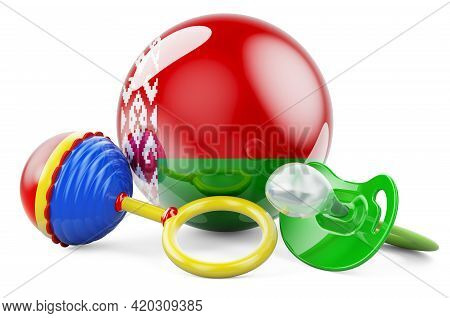Birth Rate And Parenting In Belarus Concept. Baby Pacifier And Baby Rattle With Belarusian Flag, 3d
