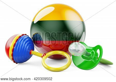 Birth Rate And Parenting In Lithuania Concept. Baby Pacifier And Baby Rattle With Lithuanian Flag, 3