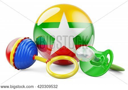 Birth Rate And Parenting In Myanmar Concept. Baby Pacifier And Baby Rattle With Myanmar Flag, 3d Ren