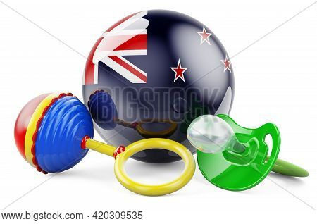 Birth Rate And Parenting In New Zealand Concept. Baby Pacifier And Baby Rattle With New Zealand Flag