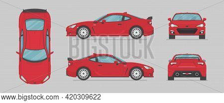 Vector Red Sport Car. Side View, Front View, Back View, Top View. Cartoon Flat Illustration, Car For
