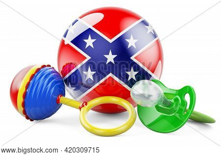 Confederate States Of America Flag With Pacifier And Baby Rattle. 3d Rendering Isolated On White Bac