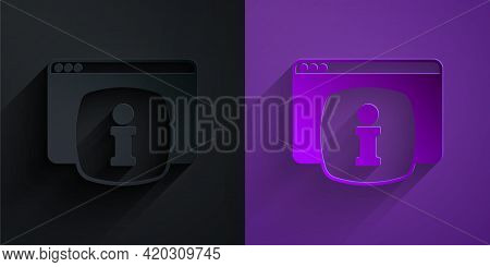 Paper Cut Computer Monitor With Text Faq Information Icon Isolated On Black On Purple Background. Fr