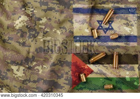 Palestinian-israeli Conflict Concept. Israeli And Palestinian Flags On Camouflage Military Uniforms.