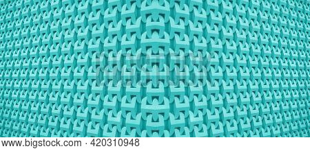 Electric Blue Diminishing Perspective Of A Symmetry Architectural Pattern, 3d Illustration