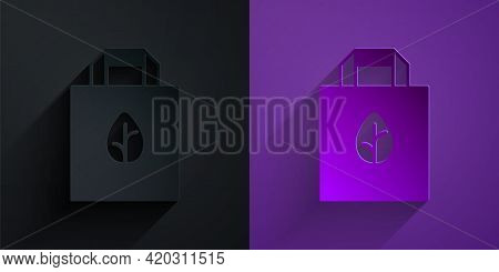 Paper Cut Paper Shopping Bag With Recycle Icon Isolated Paper Cut Background. Bag With Recycling Sym