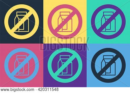 Pop Art No Pack Of Milk Icon Isolated Pop Art Background. Not Allow Milk. Allergy Concept, Lactose I