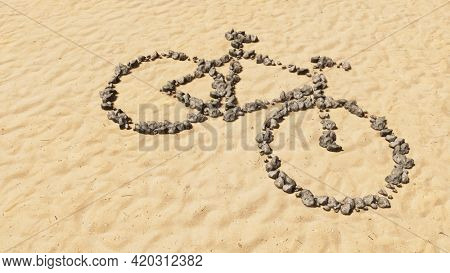 Concept conceptual stones on beach sand handmade symbol shape, golden sandy background, bicycle sign.  3d illustration metaphor for recreation,  health, sport, ecological transportation or work