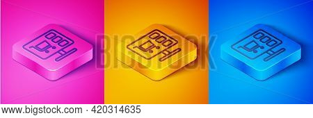 Isometric Line Shopping Cart On Screen Computer Icon Isolated On Pink And Orange, Blue Background. C