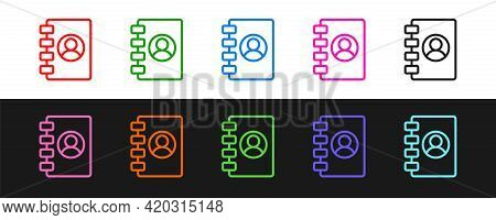 Set Line Address Book Icon Isolated On Black And White Background. Notebook, Address, Contact, Direc