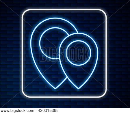 Glowing Neon Line Map Pin Icon Isolated On Brick Wall Background. Navigation, Pointer, Location, Map