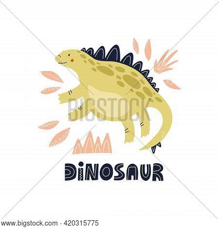 Dinosaur Stegosaurus Hand Drawn Vector Illustration For Cute Nursery Poster Design