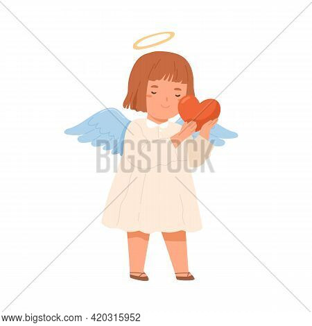 Cute Happy Angel With Wings Holding Heart In Hands. Peaceful Little Girl Giving Love, Hope And Peace