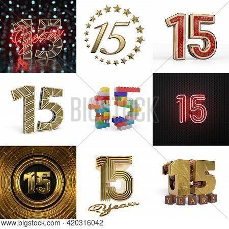 Set Of Fifteen Year Birthday. Number 15 Graphic Design Element. Anniversary Number Template Elements