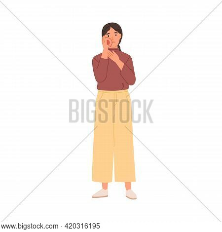 Young Sad Woman Suffering From Toothache. Unhappy Patient With Tooth Ache. Person Feeling Unwell, Ho