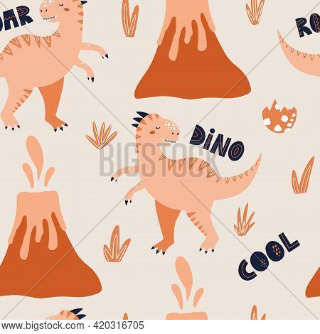 Tyrannosaurus Dinosaur Seamless Pattern. Hand Drawn Vector Illustration For Packaging Or Textile Des