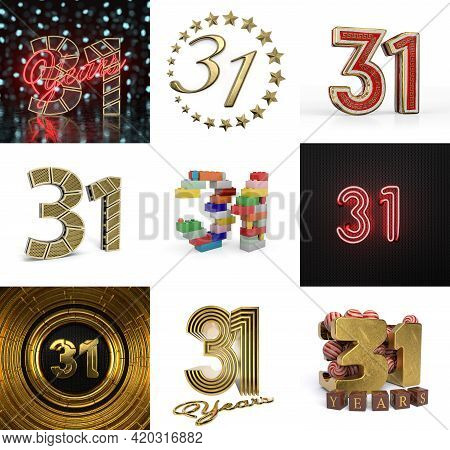 Set Of Thirty-one Year Birthday. Number 31 Graphic Design Element. Anniversary Number Template Eleme
