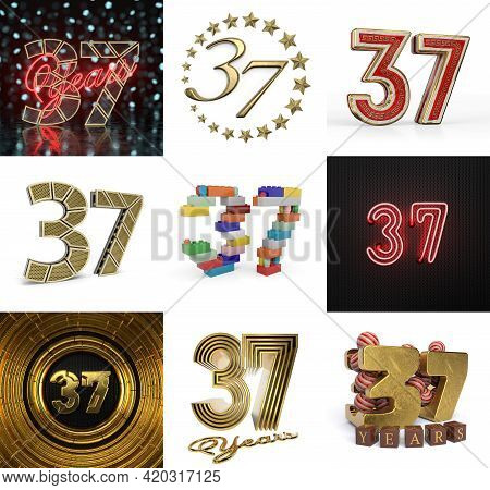 Set Of Thirty-seven Year Birthday. Number 37 Graphic Design Element. Anniversary Number Template Ele