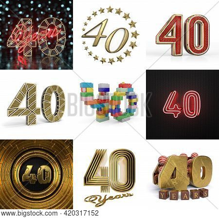 Set Of Forty Year Birthday. Number 40 Graphic Design Element. Anniversary Number Template Elements F