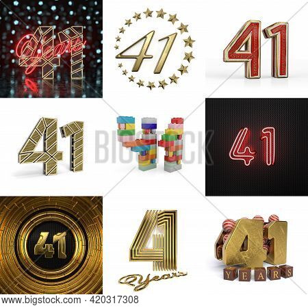 Set Of Forty-one Year Birthday. Number 41 Graphic Design Element. Anniversary Number Template Elemen