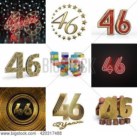 Set Of Forty-six Year Birthday. Number 46 Graphic Design Element. Anniversary Number Template Elemen