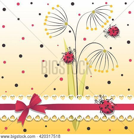 Ladybugs. Vector Cartoon Character. Cute Red Ladybugs With An Openwork Ribbon And Bow And Polka Dots
