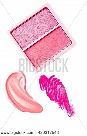 Eye Shadow Powder Or Blush Makeup Palette As Flat Lay, Pink Cosmetic Smear, Eyeshadow And Lip Gloss
