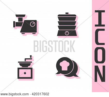 Set Chef Hat In Speech Bubble, Kitchen Meat Grinder, Manual Coffee And Slow Cooker Icon. Vector