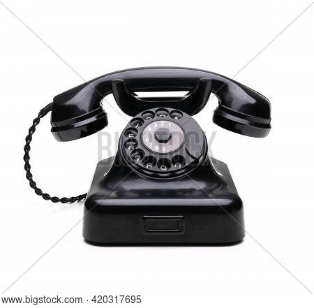 Old Scratched Telephone Isolated On White Background