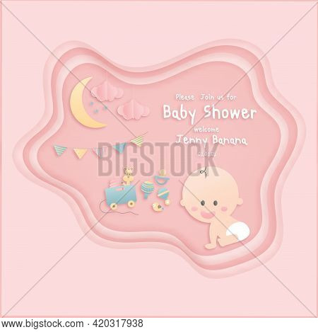 Vector Illustration Greeting Card For A Baby Shower On Pink Background, Cute Design Papercraft Baby