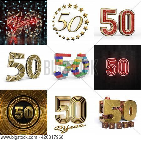 Set Of Fifty Year Birthday. Number 50 Graphic Design Element. Anniversary Number Template Elements F