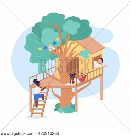 Kids Playing On Treehouse 2d Vector Web Banner, Poster. Tree Fort In Backyard For Teenagers Flat Cha