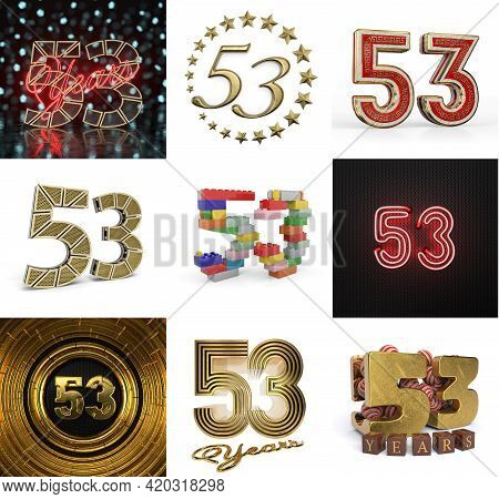 Set Of Fifty-three Year Birthday. Number 53 Graphic Design Element. Anniversary Number Template Elem