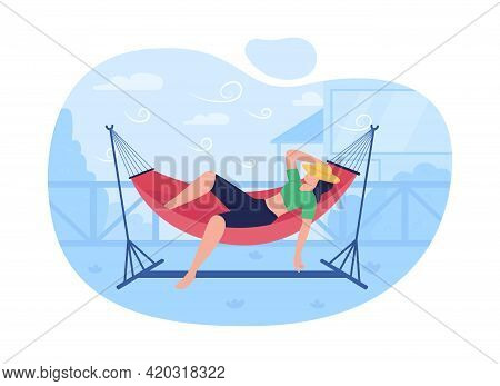 Sleeping In Hammock 2d Vector Web Banner, Poster. Camping. Enjoying Free Time In Hanging Bed Flat Ch