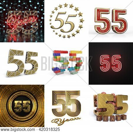 Set Of Fifty-five Year Birthday. Number 55 Graphic Design Element. Anniversary Number Template Eleme