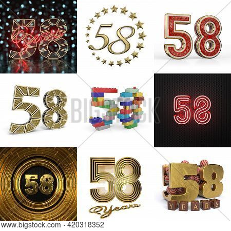 Set Of Fifty-eight Year Birthday. Number 58 Graphic Design Element. Anniversary Number Template Elem