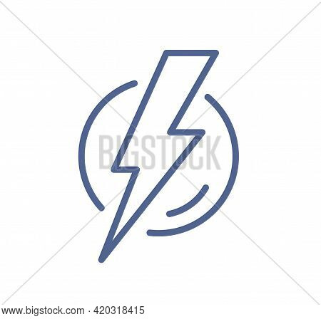 Simple Line Art Icon Of Lightning Flash In Circle. Electric Power Sign With Thunder Bolt. Symbol Of