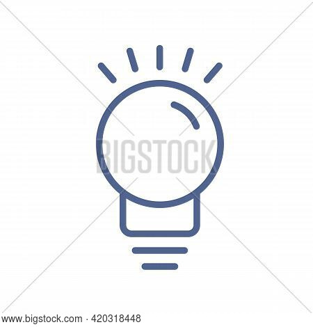 Outlined Light Bulb Icon In Line Art Style. Glowing Lightbulb Pictogram. Lineart Shining Lamp With R