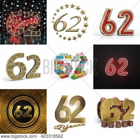 Set Of Sixty-two Year Birthday. Number 62 Graphic Design Element. Anniversary Number Template Elemen