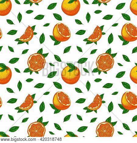 Bright Seamless Pattern With Acidic Bright Fluorescent Oranges And Green Leaves On A White Backgroun