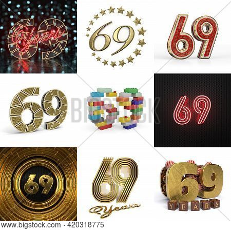 Set Of Sixty-nine Year Birthday. Number 69 Graphic Design Element. Anniversary Number Template Eleme