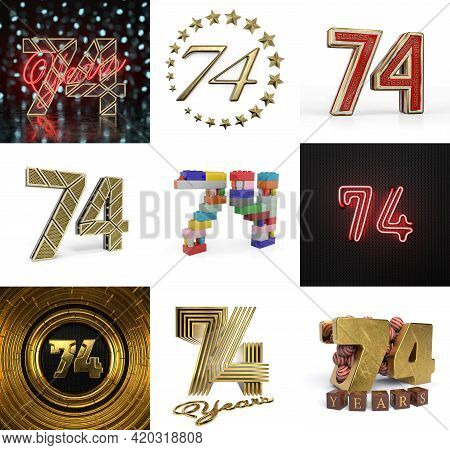Set Of Seventy-four Year Birthday. Number 74 Graphic Design Element. Anniversary Number Template Ele