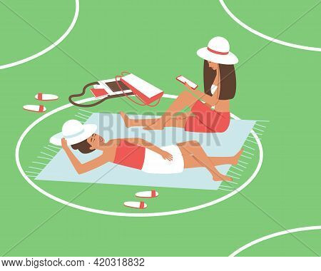 Mom And Daughter Are Resting In The Park During The Quarantine Period. Reading An E-book. Circles On