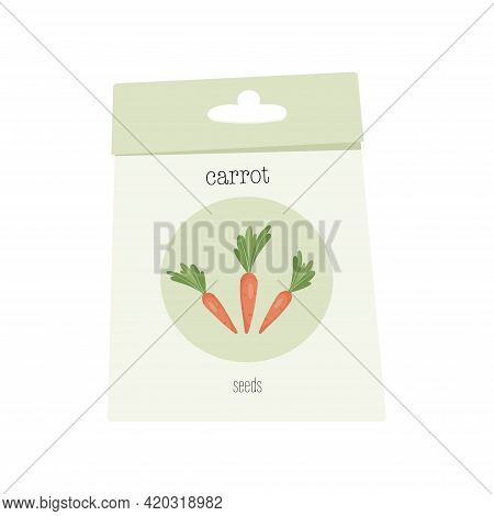A Package Or Bag Of Seeds For Planting. Carrot Seeds For Print, Decor, Banner