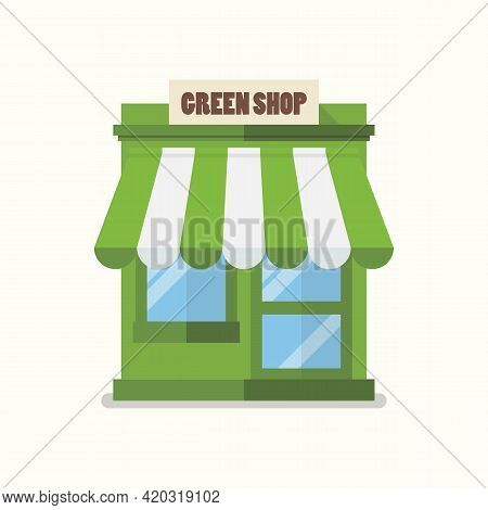 Green Shop Store Flat Icon. Eco Organic Local Store. Vector Flat Style
