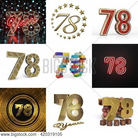 Set Of Seventy-nine Year Birthday. Number 79 Graphic Design Element. Anniversary Number Template Ele