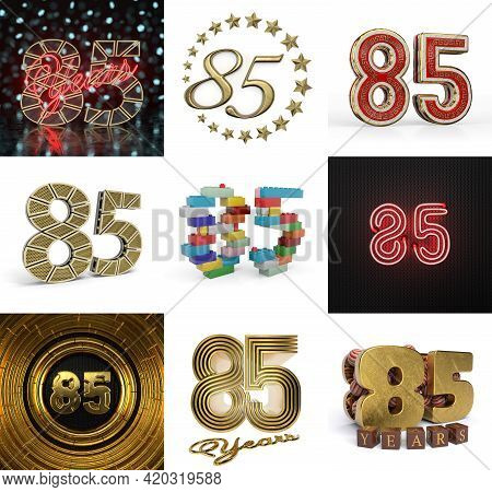 Set Of Eighty-five Year Birthday. Number 85 Graphic Design Element. Anniversary Number Template Elem