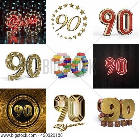 Set Of Ninety Year Birthday. Number 90 Graphic Design Element. Anniversary Number Template Elements