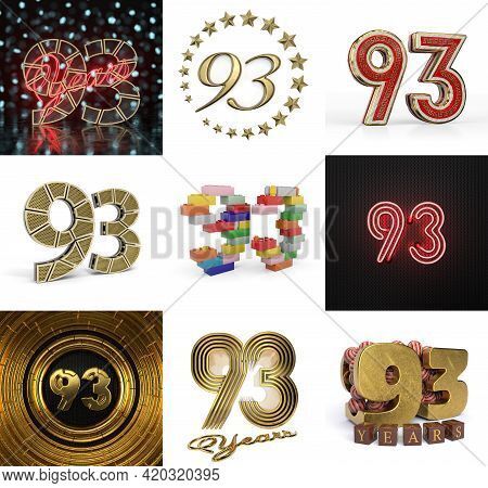 Set Of Ninety-three Year Birthday. Number 93 Graphic Design Element. Anniversary Number Template Ele